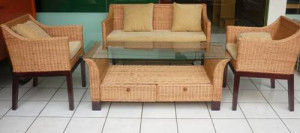 Meja Kursi Rotan Brown Multifunction